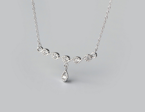 Water dripping 925 sterling silver necklace