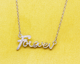 "925 Silver Necklace Pendant ,affection"" forever"" forever love diamond chain clavicle"