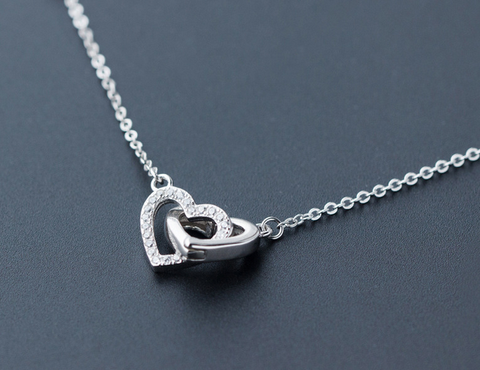 Fashion two heart 925 sterling silver necklace , a perfect gift