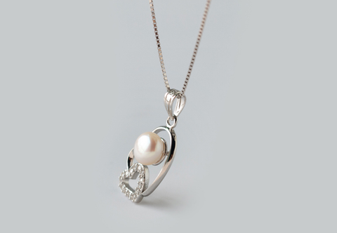 Fashion pearl and love heart 925 Sterling Silver necklace pendant ,a perfect gift