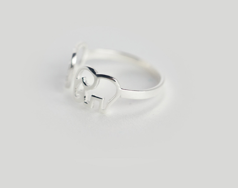 Sweet cute little elephant 925 sterling silver ring,a perfect gift