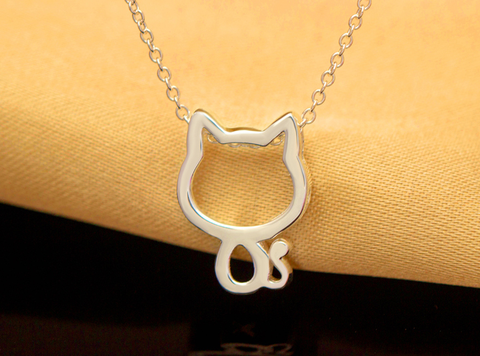 Sweet cute little cat 925 sterling silver necklace,a perfect gift