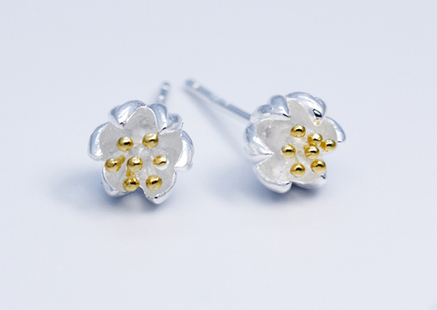 The golden flowers earrings, 925 sterling silver  earrings,a perfect gift