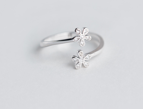 Simple two flowers 925 sterling silver zircon ring, a perfect gift !