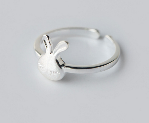 Lovely small rabbit 925 sterling silver ring, a perfect gift !