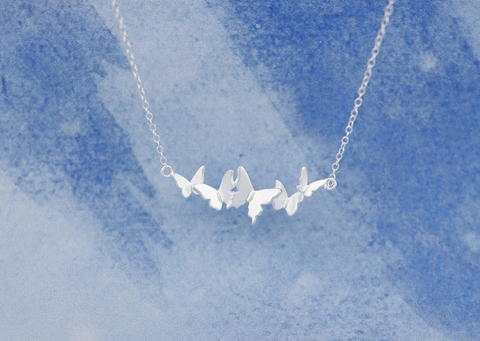 925 Sterling Silver butterflies Necklace,A group of butterflies dancing,a perfect gift !