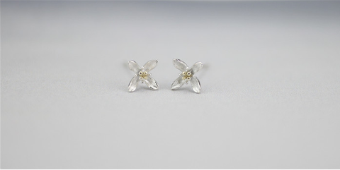925 sterling silver Double color aesthetic art flower stud earrings, a perfect gift !
