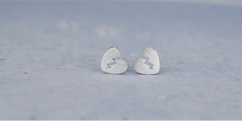 925 sterling silver Broken heart earrings ,a simple perfect gift !