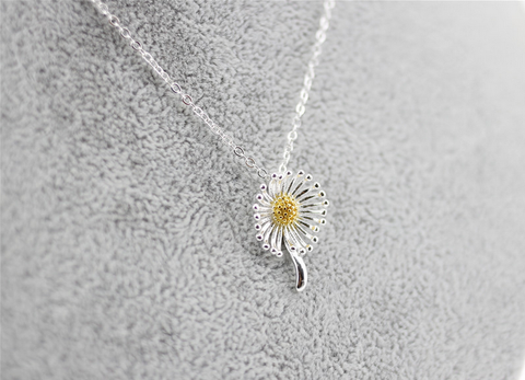 925 sterling silver Double color dandelion pendant necklace ,a simple perfect gift !