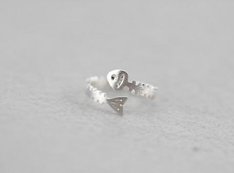 925 sterling silver Strange fish bone opening ring,a simple perfect gift !