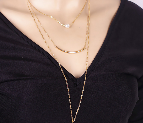 Fashionable joker bend metal multi layer pearl collar bone necklace