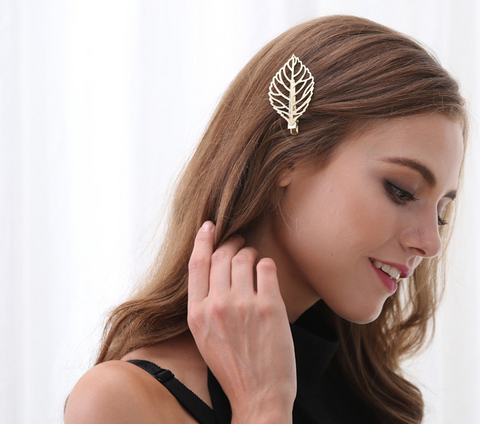 Metal leaf women's joker temperament hair clips