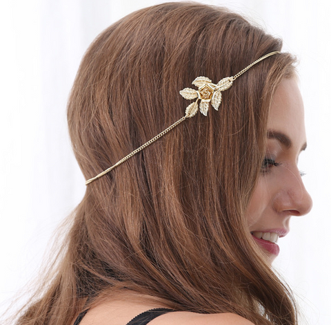 Fashion trendy Golden leaf flower women's  hair band