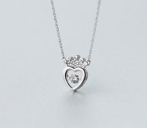 925 sterling silver lovely crown heart necklace, a perfect gift