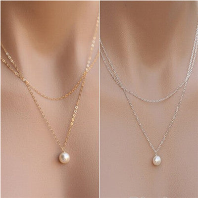 Women's Double Gold Plated Chains Pearl Charm Pendant Necklace