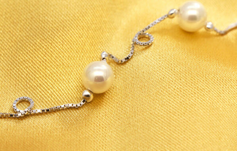 925 Sterling Silver  pearl  necklace, simple necklace, a perfect gift