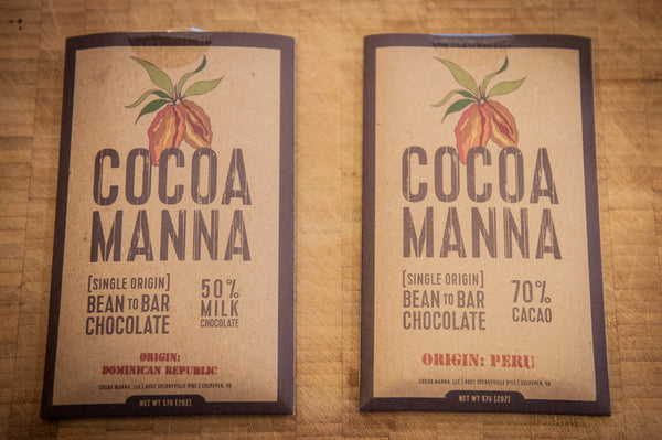 Cocoa Manna bean-to-bar chocolate side-by-side