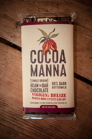 Cocoa Manna 60% Dark Buttermilk Chocolate Bar