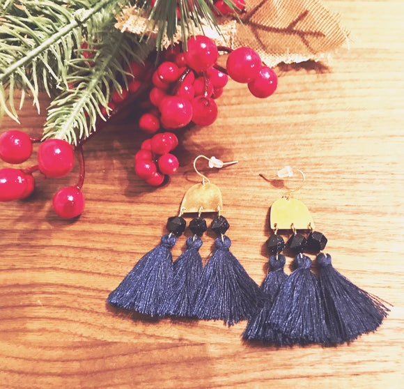 Blue Goldstone Faceted Stones Tassels Earrings - Blue Navy Tassels - Brass Pendant Earrings - CUSTOM STAMPING - PERSONALIZED GIFT