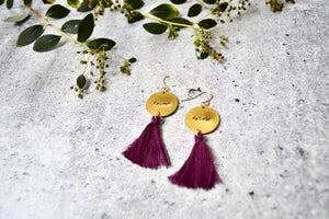 Femme Fatale HandStamped Brass Earrings - Dark Purple Tassels