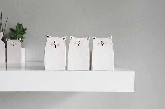 Ceramic Cat Planter - Julie Richard Céramiste