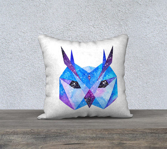 Space Owl Pillow Cushion Cover - 18 x 18 - Velveteen