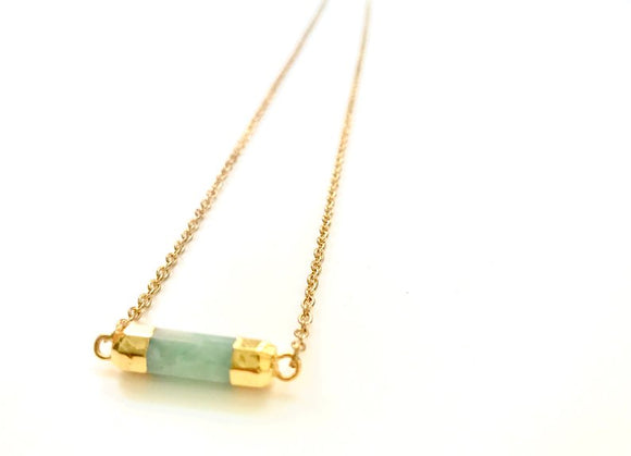 Minimalist Amazonite GemStone Faceted Cylinder Necklace - Gold Plated Barrel