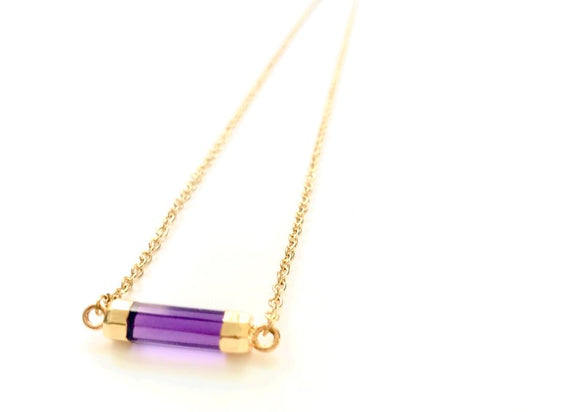 Minimalist Amethyst GemStone Faceted Cylinder Necklace - Gold Plated Barrel