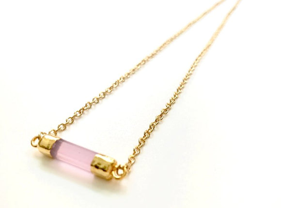 Minimalist Rose Chalcedony GemStone Faceted Cylinder Necklace - Gold Plated Barrel