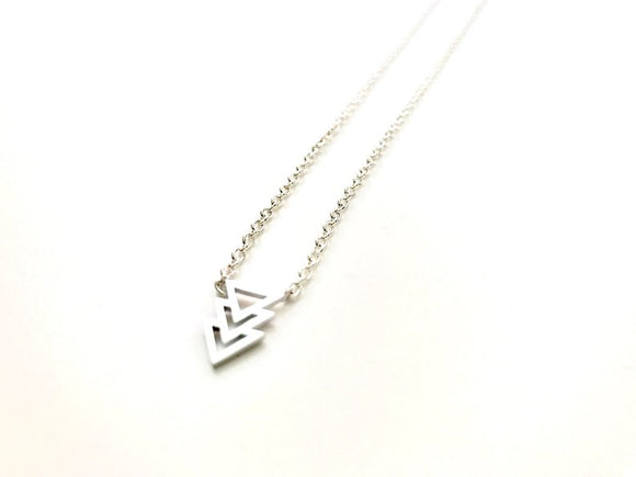 Trinity Triangle Minimalist Silver Plated Necklace
