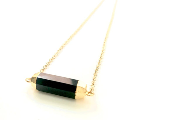 Minimalist Black Onyx GemStone Faceted Cylinder Necklace - Gold Plated Barrel