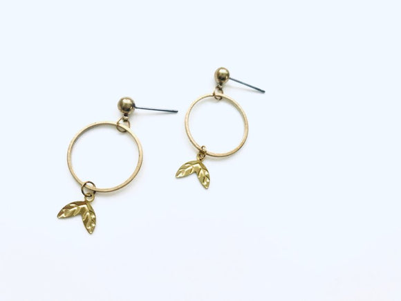 Delicate Geometric Brass Pendant Earrings - Surgical Stainless Steel Earrings