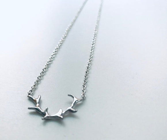 Silver Plated Antlers Necklace