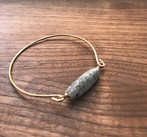 Kiwi Jasper Brass Bangle