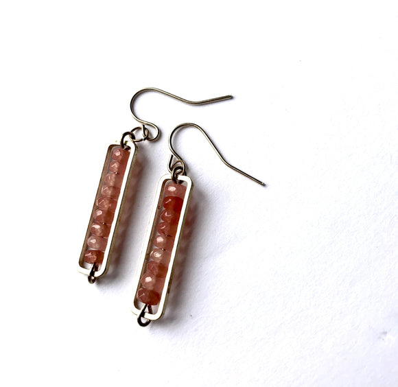 Faceted Orange Tourmaline Rectangle Bar Pendant Earrings