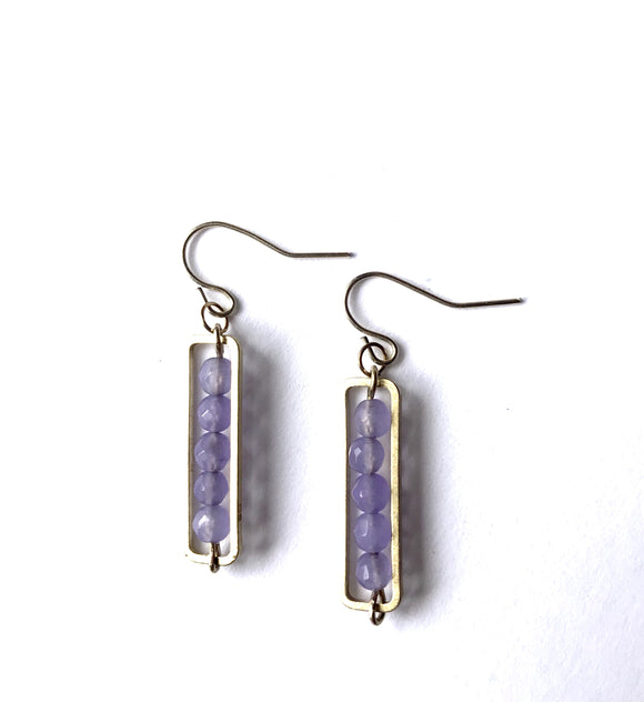 Faceted Lavender Jade Rectangle Bar Pendant Earrings
