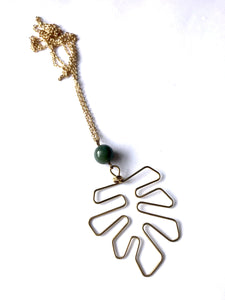 "Gold Brass Monstera Pendant Necklace - Green Jade - 24"" long"