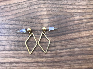 Simple Minimalist Losange Earrings - Surgical Steel Studs