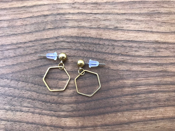 Simple Minimalist hexagon Earrings - Surgical Steel Studs