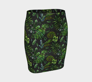Emerald Green Crystal Fitted Skirt - Eco Poly