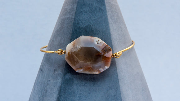 Faceted Opal Brass Bangle Bracelet