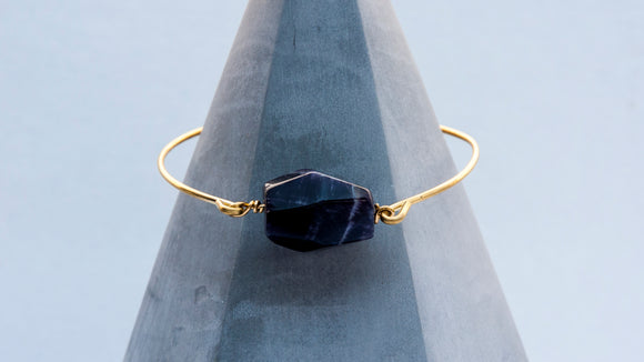 Faceted Amethyst Brass Bangle Bracelet