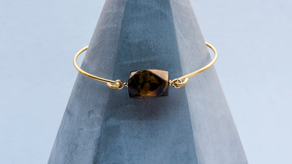 Faceted Tiger Eye Brass Bangle Bracelet