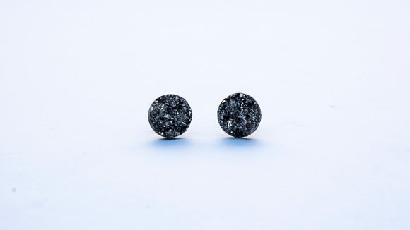 Silver Druzy Round Earrings