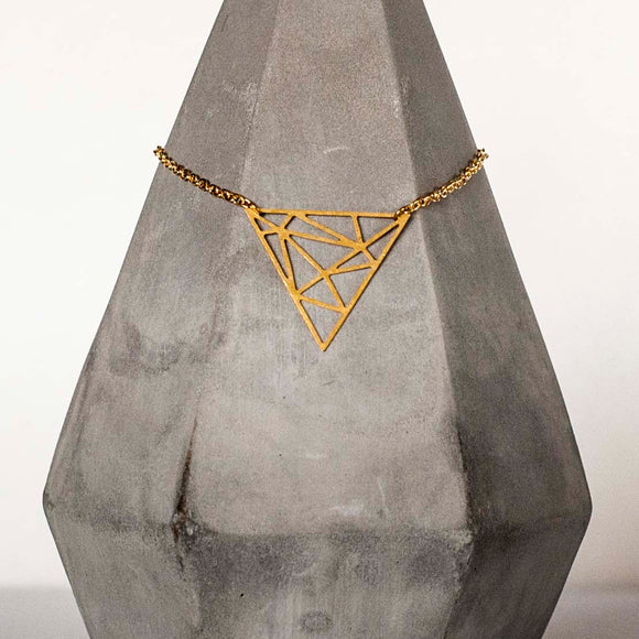 Abstract Brass Triangle Pendant Necklace