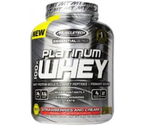 Muscletech Essential Platinum 100% Whey - Strawberries and Cream - 5 Lbs