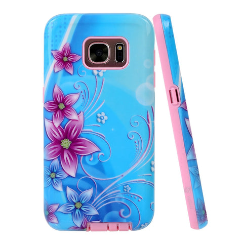 Galaxy S7 Printed Design Slim Fit Hybrid Armor Case with 1 Style4U Stylus