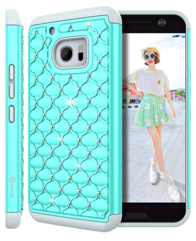 HTC 10/ HTC One M10 Studded Rhinestone Crystal Bling Hybrid Armor Case