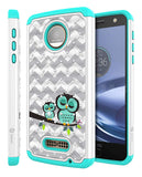 Moto Z Force Droid Studded Rhinestone Crystal Bling Hybrid Armor Case by Style4U