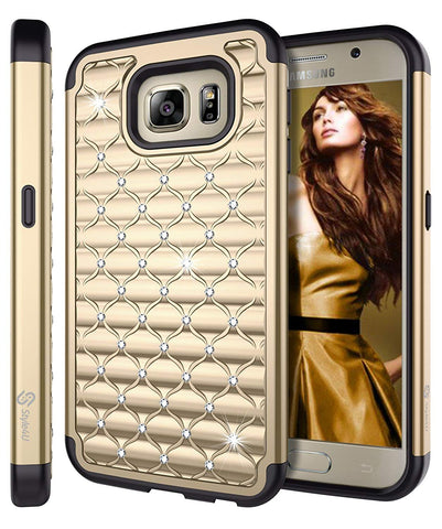 Galaxy S6 Studded Rhinestone Crystal Bling Hybrid Armor Case by Style4U